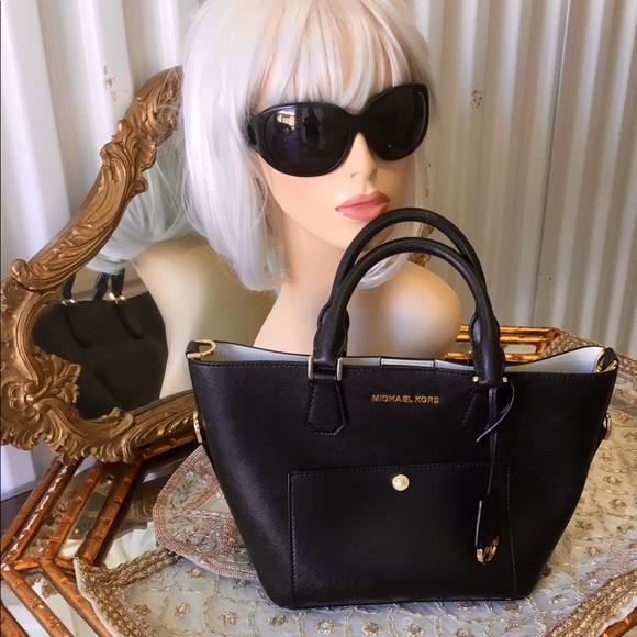 Auth Michael Kors MK Black Leather Purse Tote Bag